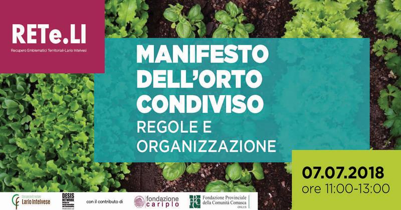 Manifesto dell'orto condiviso: regole e organizzazione